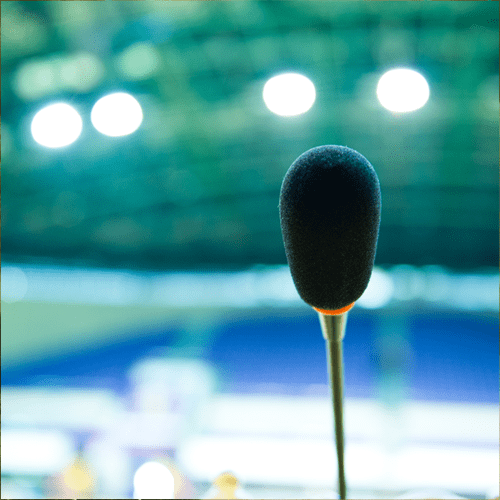 Microphone for speaking Heather Hildebrand